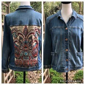 Chico's Jean jacket with designed back size M